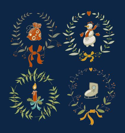 coronas navidenas: Christmas wreaths set with snowman and New Year graphic elements, holiday symbols. Vector illustration. Vectores