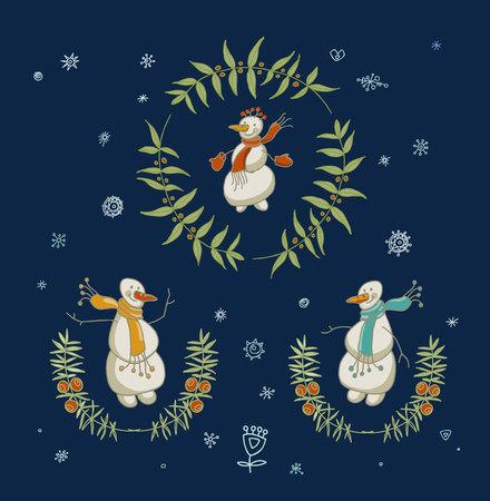 guirnaldas navideñas: Guirnaldas de la Navidad fijados con los elementos gráficos del muñeco de nieve y Año Nuevo, símbolos de vacaciones. Ilustración del vector. Vectores