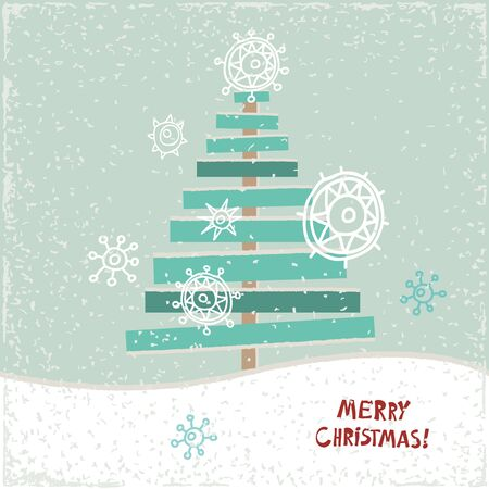 christmas tree illustration: Creative paper Christmas tree. Vector Illustration. Festive Christmas card.