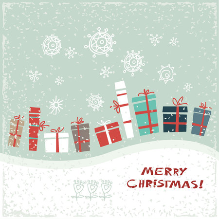 vintage paper: Vintage Christmas card with gifts and snowflakes. Vector illustration. Greeting card.