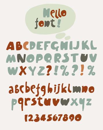 abecedario: Dibujado a mano color de fuente y n�meros. Ilustraci�n del vector. Vectores
