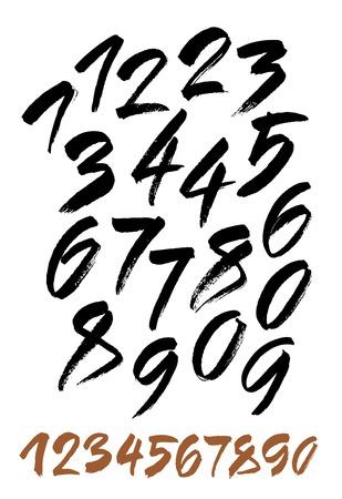 numeros: vector conjunto de números de acrílico o de tinta de caligrafía. ABC para su diseño.