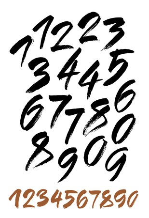 alphabet number: vector set of calligraphic acrylic or ink numbers. ABC for your design.