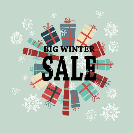 Winter te koop achtergrond met zwarte letters, cadeaus en sneeuw. Verkoop. De verkoop van Kerstmis. Nieuwe jaar te koop. vector illustratie