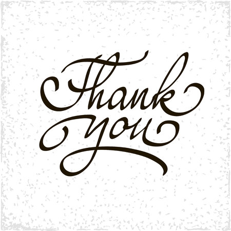 to thank: Inscription Thank you. Original handwritten calligraphy for your website or advertisement