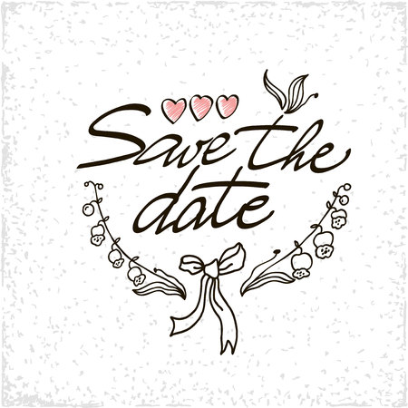 40s: Save the date hand lettering handmade calligraphy. Vector illustration.