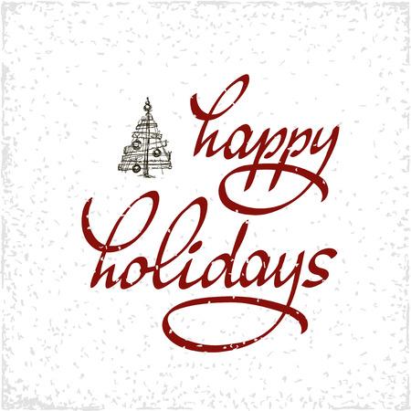 Hand getrokken typografie poster. Happy Holidays groeten met de hand letters op een witte achtergrond. Made in vector. Inspirerend illustratie. Stock Illustratie
