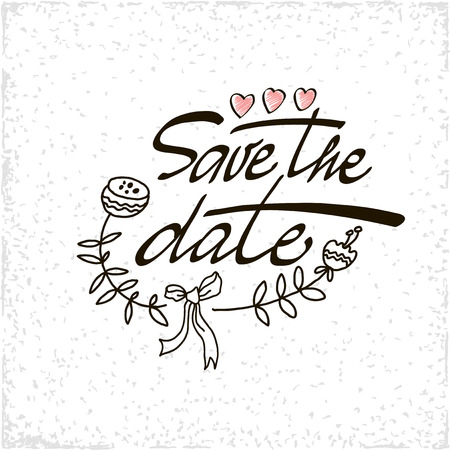 invitation cards: Save the date lettering calligraphy. illustration.