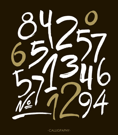 swirls: set of calligraphic acrylic or ink numbers. ABC for your design. Illustration