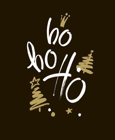 Merry Christmas greeting card with calligraphy. Hoho. Handwritten modern brush lettering. Hand drawn design elements. Çizim