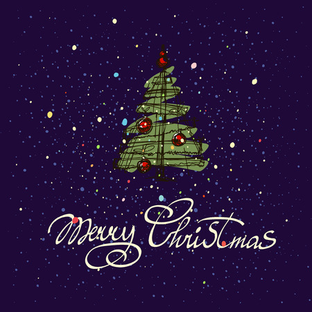 nostalgia: Merry Christmas hand lettering isolated on dark background. greeting card. Illustration