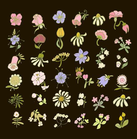 コレクションは手描き花です。あなたのデザインの要素。 ベクトルの図。黒地にパステル カラーのお花。  イラスト・ベクター素材