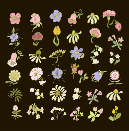 Collection of hand drawn flowers. Elements for your design. Vector illustration. Pastel flowers on a black background.