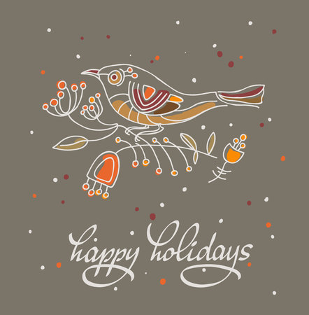 christmas postcard: Happy holidays greeting card with stylized bird. Vector illustration.  Dark background