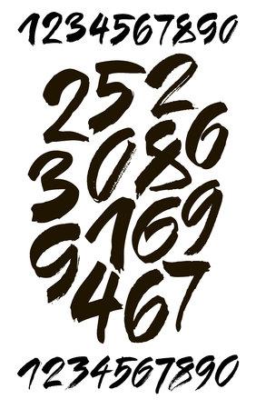 붓글씨 아크릴 또는 잉크 숫자의 벡터 집합입니다. 디자인을위한 ABC. 일러스트
