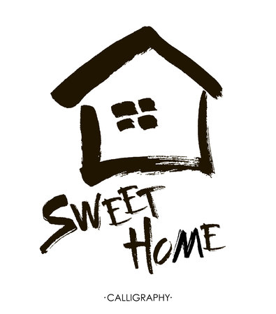 lettering typography poster.Calligraphic quote Home sweet home.For housewarming posters, greeting cards, home decorations.illustration.