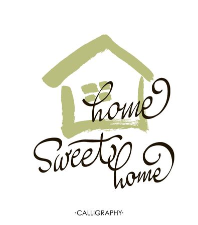 housewarming: lettering typography poster.Calligraphic quote Home sweet home.For housewarming posters, greeting cards, home decorations.illustration.