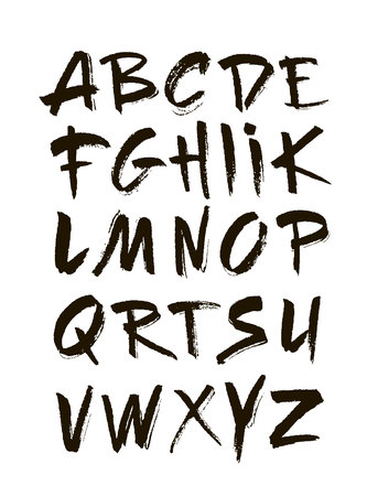 Hand Drawn Alphabet In Retro Style ABC For Your Design Letters Of The