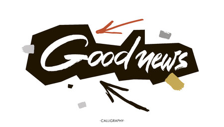good news: Good news. white ink calligraphy for cards, prints and social media content, trendy design. Positive quote, lettering on white  background.
