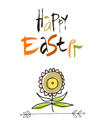 cartoon insect: With love at Easter card design, calligraphic text, lettering.  stylized flowers and butterflies isolated on white background.