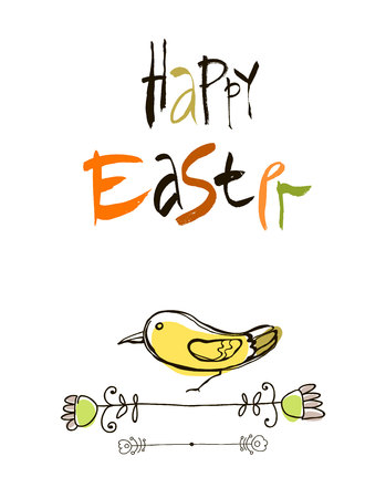 egret: Happy Easter card design, calligraphic text, lettering. stylized flowers and butterflies isolated on white background. Illustration
