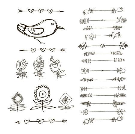sketched arrows: Set of  Black Doodle Design Elements. Decorative Floral Dividers, Arrows, Swirls, Scrolls. Vintage Illustration.