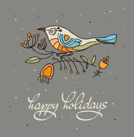 christmas postcard: Happy holidays greeting card with stylized bird. illustration.  Dark background