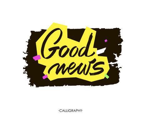 redesign: Good news. white ink calligraphy for cards, prints and social media content, trendy design. Positive quote, lettering on white  background.