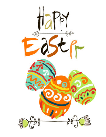 Happy Easter greeting card or display poster. Acrylic lettering brush.