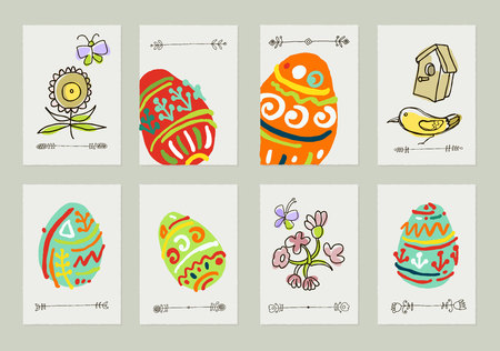 Happy Easter greeting card or display vector poster. Set of eight postcards for your design
