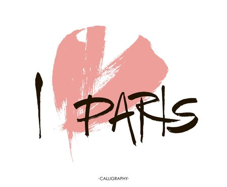 i love paris: Conceptual inscription I love Paris,  stylized abstract heart.  Vector illustration for your design. Lettering with ink and brush.