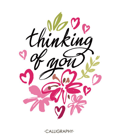 thinking of you: Thinking of you. Vector brush calligraphy. Handwritten ink lettering. Hand drawn design elements. White background Illustration