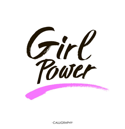 equal opportunity: Girl power - Hand lettering with white outline at pink textured background