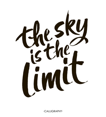 sky is the limit: The sky is the limit. Inspirational phrase at  white  background,  typography for poster, t-shirt or card.