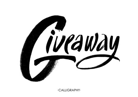 giveaway: Giveaway for social media contests and special offer. black ink brush lettering at white background. Modern calligraphy style.