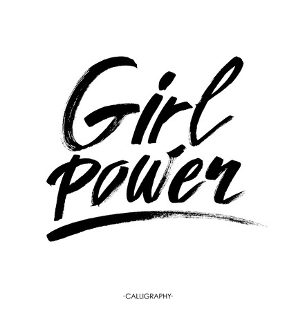 equal opportunity: Girl power. Inspirational quote, feminism quote. Hand lettering with white outline at pink textured background. Phrase for posters, t-shirts and wall art. Vector design.