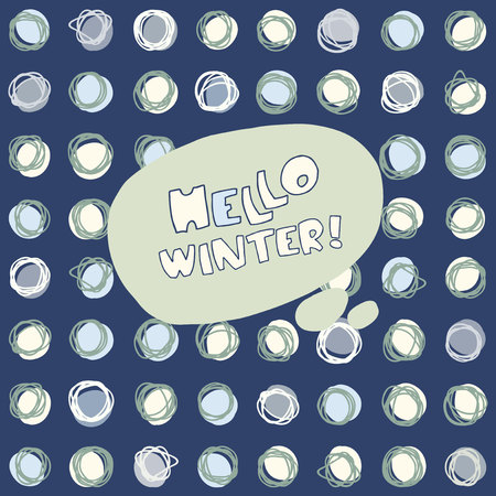 snowballs: Hello Winter vector hand drawn greeting card on seamless background with snowballs on a dark background