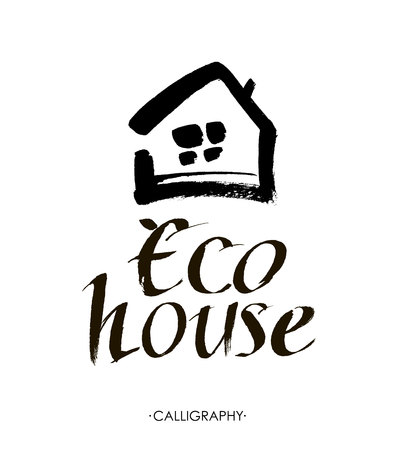 homely: Eco House Vector. Hand lettering typography poster. Calligraphic quote Eco House. Illustration