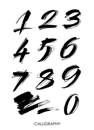 vector set kalligrafische acryl- of inktnummers. ABC voor jouw ontwerp.