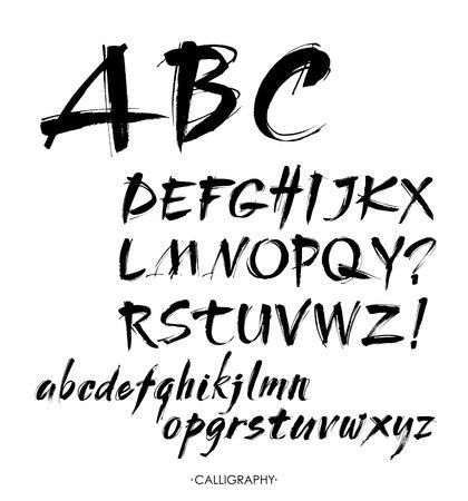 벡터 아크릴 브러쉬 스타일 손으로 그려진 된 알파벳 글꼴입니다. 흰색 배경에 서 예 알파벳