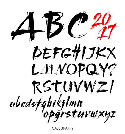 Vector Acrylic Brush Style Hand Drawn Alphabet Font. Calligraphy alphabet on a white background