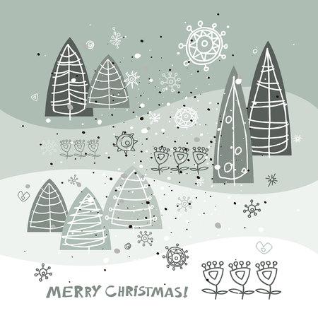 Frohe Weihnachten und Happy New Year Grußkarte. Urlaub Vektor-Illustration. Winter abstrakten stilisierte Bäume Weihnachtsbäume.