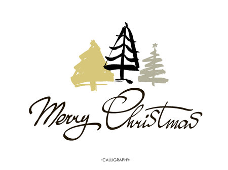 Merry Christmas greeting card with calligraphy. Merry Christmas text design. Vector logo, typography. Usable as banner, greeting card, Christmas tree. Hand drawn design elements. Illustration