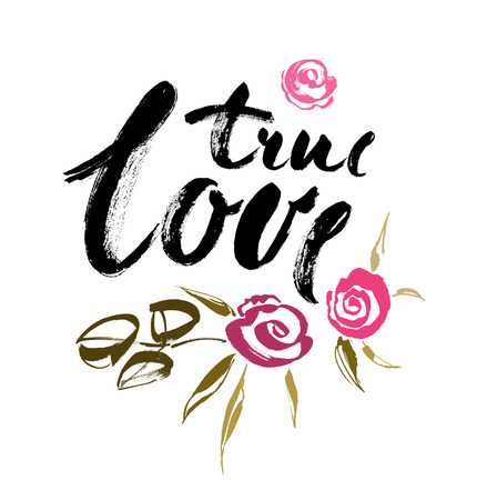 True LOVE. Valentines day greeting card with calligraphy. Hand drawn design elements. Handwritten modern brush lettering. Vector illustration