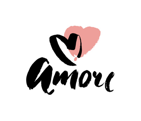 Amore - hand drawn lettering word with pink heart. Vector art. Valentines Day Calligraphy Greeting Card.