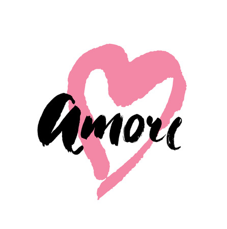 valentineday: Amore - hand drawn lettering word with pink heart. Vector art. Valentines Day Calligraphy Greeting Card.