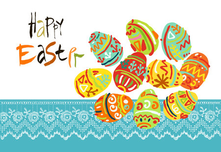 Happy Easter greeting card or display vector poster