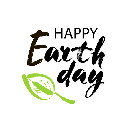 Happy Earth Day hand lettering card, background. Vector illustration with leaves for banner, poster. Modern brush calligraphic style. Illustration