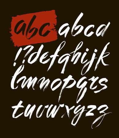 italics: Acrylic Brush Style Hand Drawn Alphabet Font. ABC for your design, brush lettering Illustration