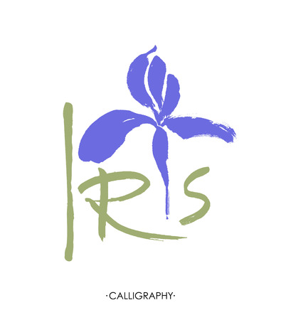 Vector flower logo. Floral background. Stylized calligraphic ink iris. Vettoriali